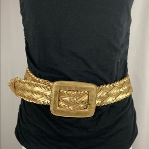 Verá Wang Gold Leather Wide Belt, Size S